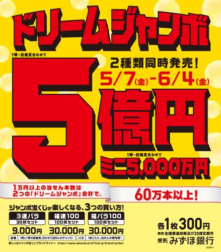 ドリームジャンボ宝くじ発売!